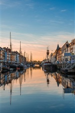 Preview iPhone wallpaper Europe, dusk, river, canal, houses, boats