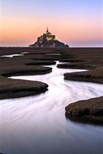 França, Normandia, castelo, rio, água, manhã