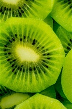 Preview iPhone wallpaper Fresh fruit, green kiwi slice