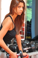 Preview iPhone wallpaper Girl, sport, dumbbell, workout, sportswear