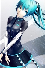 Preview iPhone wallpaper Hatsune Miku, anime girl, blue hair flying