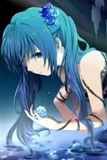 Preview iPhone wallpaper Hatsune Miku, anime girl in water, flowers, roses