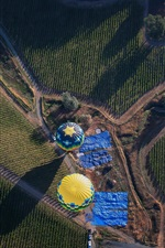 Preview iPhone wallpaper Hot air balloons, farm field, road, countryside