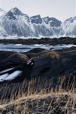 Preview iPhone wallpaper Iceland, Vestrahorn, black sand, grass, mountains, sky