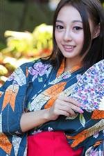 iPhone обои Японская девушка, Азии, кимоно, бумажный веер