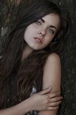 Preview iPhone wallpaper Katya, freckles, long hair girl, portrait