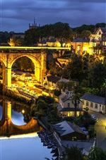 Preview iPhone wallpaper Knaresborough, North Yorkshire, England, night, bridge, river, houses, lights
