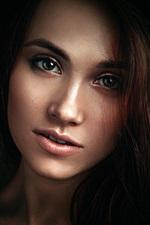 Preview iPhone wallpaper Kseniya, girl portrait, black background