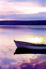 Preview iPhone wallpaper Lake, sunset, boat, evening