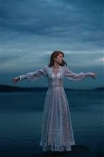 Lonely girl, lake, white dress, night