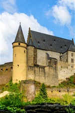Preview iPhone wallpaper Luxembourg, Vianden Castle, clouds