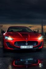 Preview iPhone wallpaper Maserati Granturismo red supercar front view, lights, Dubai