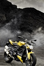 Mercedes-Benz SLK-Class R172 yellow car, Ducati motorcycle