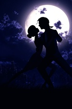 Preview iPhone wallpaper Moon, night, pair, dance, love, silhouette, art pictures