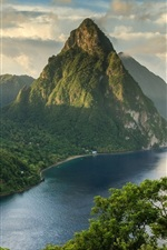 Preview iPhone wallpaper Mountains, clouds, river, trees, boats