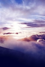 Preview iPhone wallpaper Mountains, slope, clouds, sun, sunset