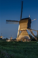 Netherlands, windmill, night, road, lights