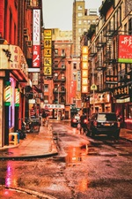 Preview iPhone wallpaper New York, Chinatown, USA, street, restaurants, cars, people