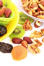 Preview iPhone wallpaper Nuts, dried fruits, kiwi, apricots, prunes