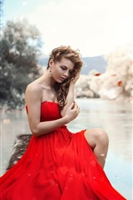 Preview iPhone wallpaper Red dress girl, lake, leg, makeup