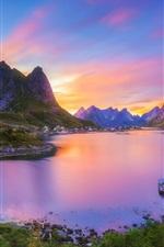 Reine, Nordland, Lofoten archipelago, Norway, village, bay, mountains, sunset