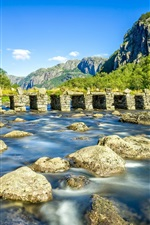 Preview iPhone wallpaper Rogaland, Norway, river, stone bridge, rocks, mountains, trees