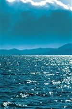 Preview iPhone wallpaper Russia nature scenery, Baikal, lake, coast, clouds, sun, blue sky