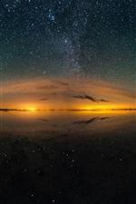 Preview iPhone wallpaper Salt lake beautiful night, sky, stars, water reflection