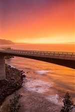 Sea Cliff Bridge, NSW Australia, sunset, mountains, sea, red sky