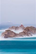 iPhone fondos de pantalla Mar, rocas, faros, niebla