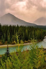 Preview iPhone wallpaper Sky, clouds, mountains, forest, river, rail, dusk