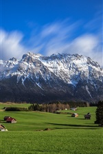 Preview iPhone wallpaper Sky, mountains, Alps, valley, houses, trees, grass