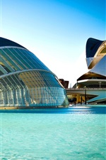 Preview iPhone wallpaper Spain, Valencia, City of Arts and Sciences, building, river, blue water