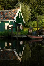 Preview iPhone wallpaper Summer, trees, river, pond, park, wood house, pier, boat