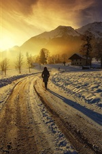 Preview iPhone wallpaper Sunrise, mountains, houses, road, girl, winter, thick snow