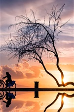 Preview iPhone wallpaper Sunset, tree, woman, bicycle, silhouette, water reflection