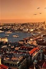 Preview iPhone wallpaper Turkey, Istanbul, beautiful city scenery, sunset, buildings, houses, river