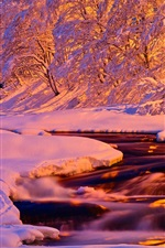 Preview iPhone wallpaper Winter, evening, light, river, stream, snow, house