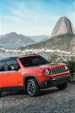 iPhone fondos de pantalla 2015 Jeep Renegade velocidad del coche rojo SUV