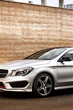 Preview iPhone wallpaper 2015 Mercedes-Benz CLA 250 silver car, wall