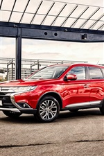 Preview iPhone wallpaper 2015 Mitsubishi Outlander AU-spec red car, city