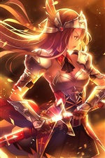 Preview iPhone wallpaper Anime girl, golden warrior, sword, weapons, armor