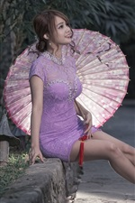 Preview iPhone wallpaper Asian girl, purple dress, umbrella