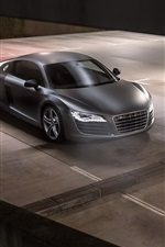 Preview iPhone wallpaper Audi R8 Plus V10 black car top view