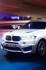 Preview iPhone wallpaper BMW X6M Falcon white car, light, night