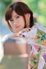iPhone fondos de pantalla Hermosa chica japonesa, kimono, verano