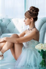 Preview iPhone wallpaper Beautiful ballerina, white dress girl, flowers