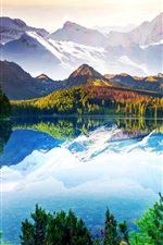 Preview iPhone wallpaper Beautiful nature landscape, mountains, trees, lake, sky, clouds, water reflection