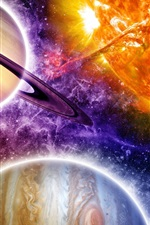 Preview iPhone wallpaper Beautiful space, colorful, planets, stars, sun