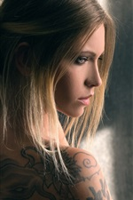 Preview iPhone wallpaper Blonde girl, tattoo, window